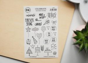 Celebrate - transparent stickers (english)